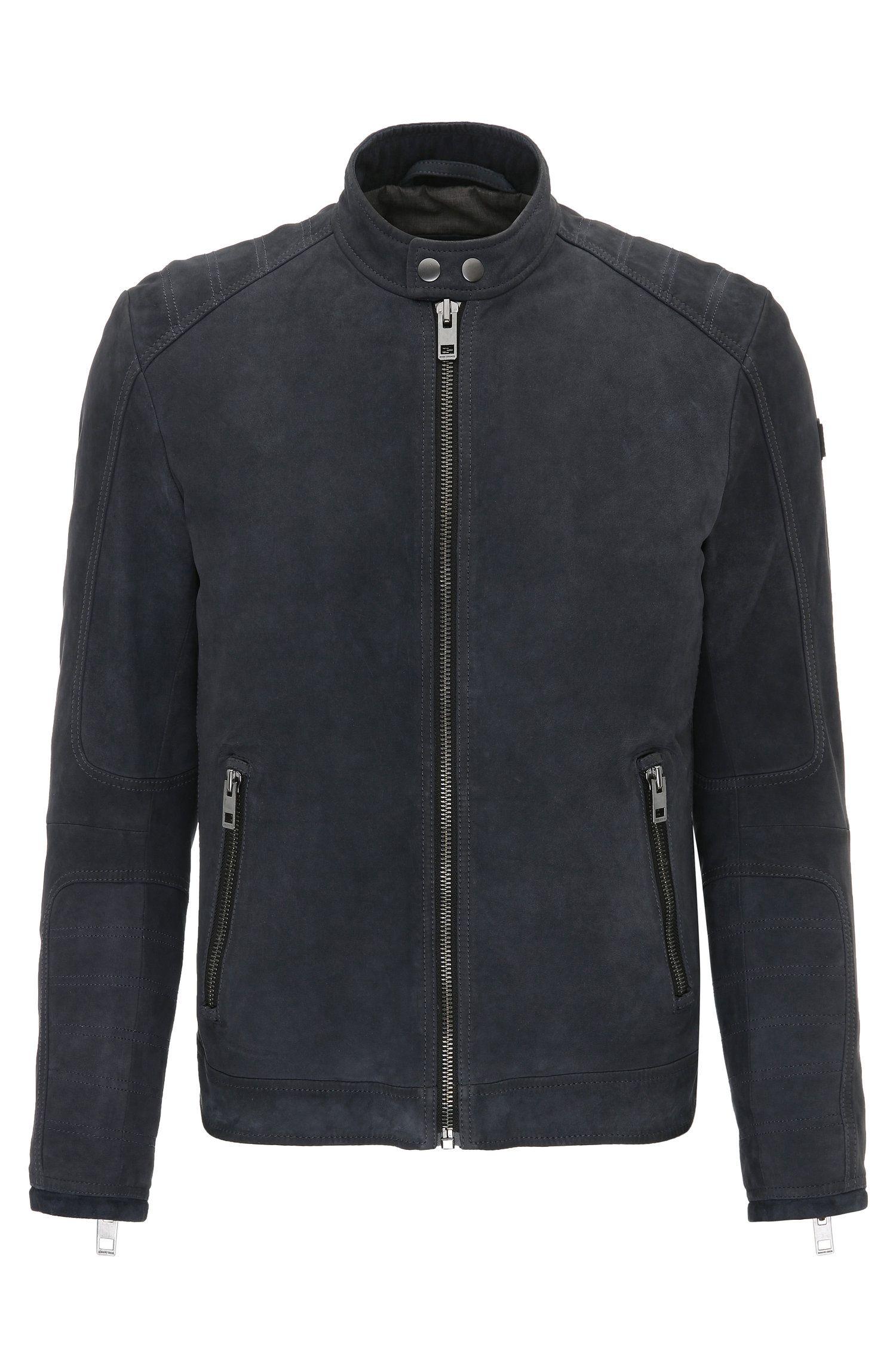 Slim-fit suede biker jacket with quilting
