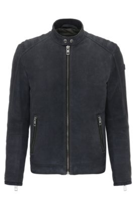 Giubbotto biker slim fit in pelle scamosciata con impunture, Blu scuro