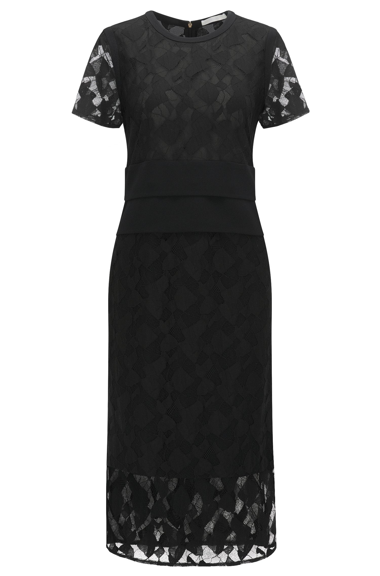 Slim-fit evening dress with lace layering