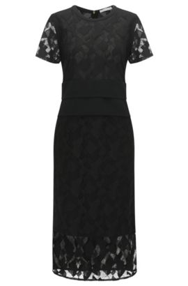 Slim-fit evening dress with lace layering, Black