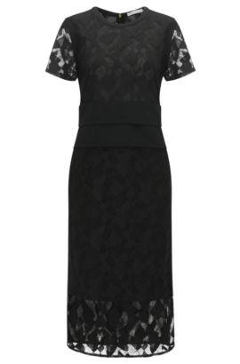 Slim-Fit Abendkleid mit Spitzenlage, Schwarz