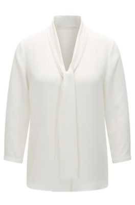 Regular-fit easy-care top with bow detail, Natural