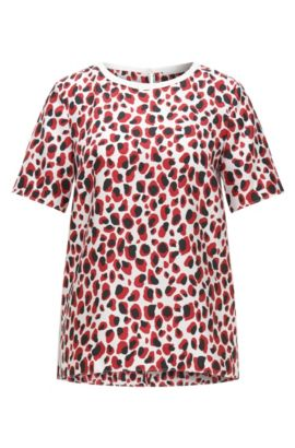 Regular-fit silk top with animal print, Patterned