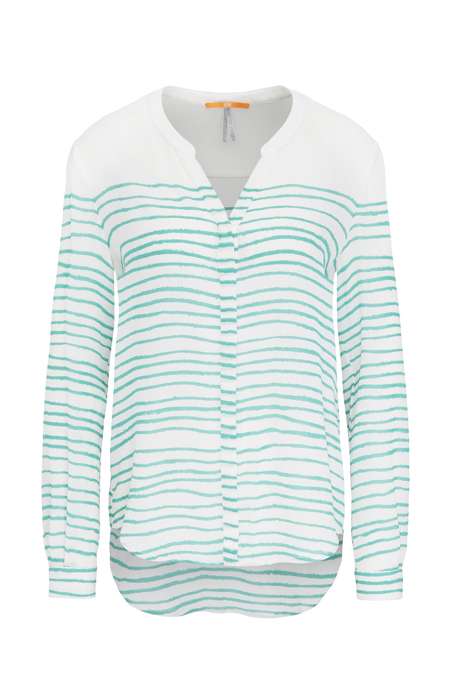 Blusa relaxed fit en seda con estampado a rayas: 'Efelize_10'
