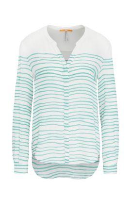 Relaxed-Fit Bluse aus Seide mit Streifen-Muster: ´Efelize_10`, Grün