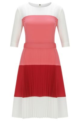 Regular-Fit Kleid aus leichtem Gewebe mit Colour-Block-Design, Hellrot