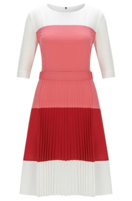 Regular-Fit Kleid aus leichtem Gewebe mit Colour-Block-Design, Hellrot