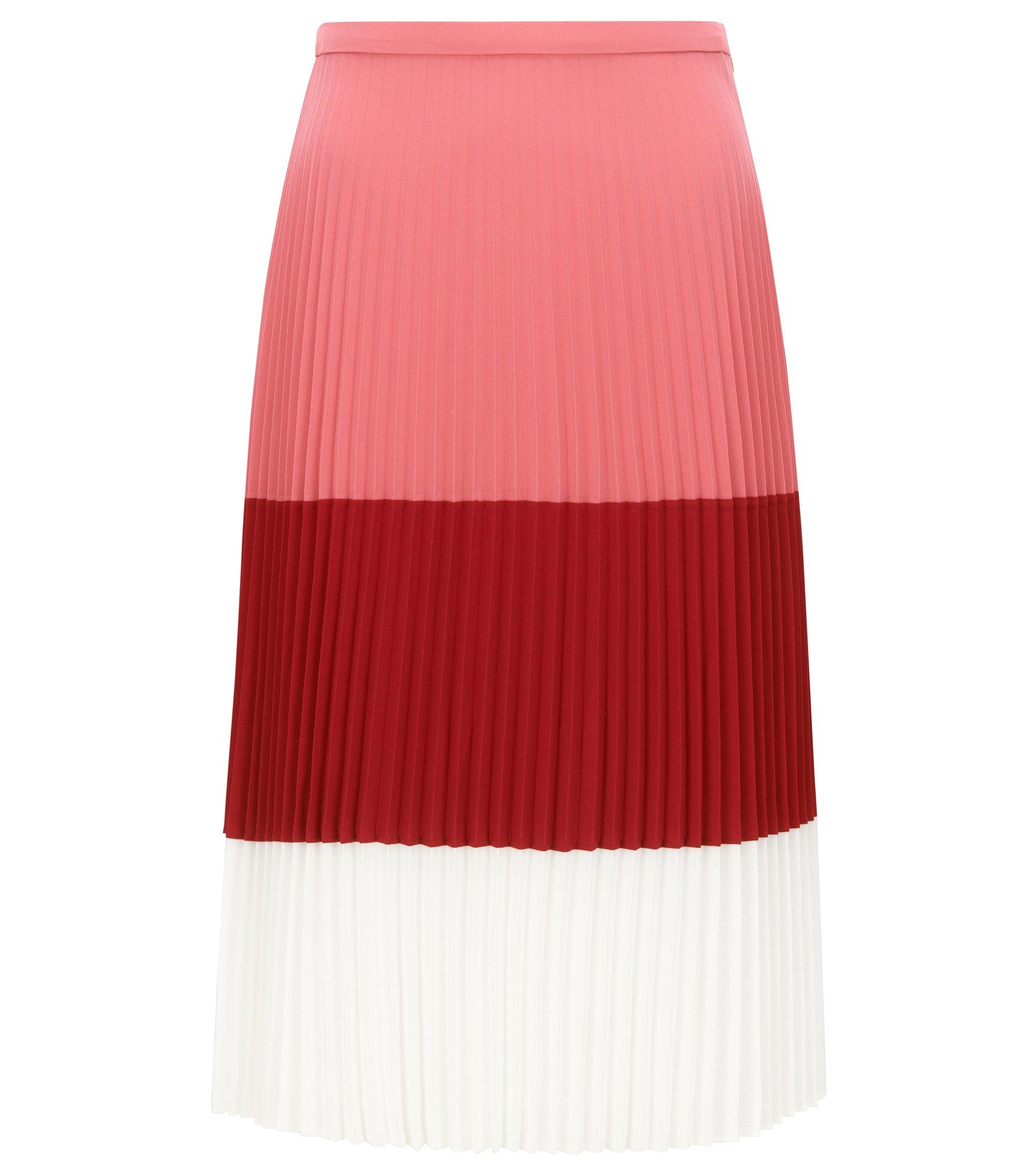 Jupe plissée Regular Fit en tissu léger, Rouge clair