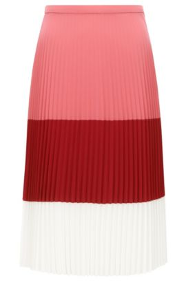 Regular-fit plissée skirt in lightweight fabric, Light Red