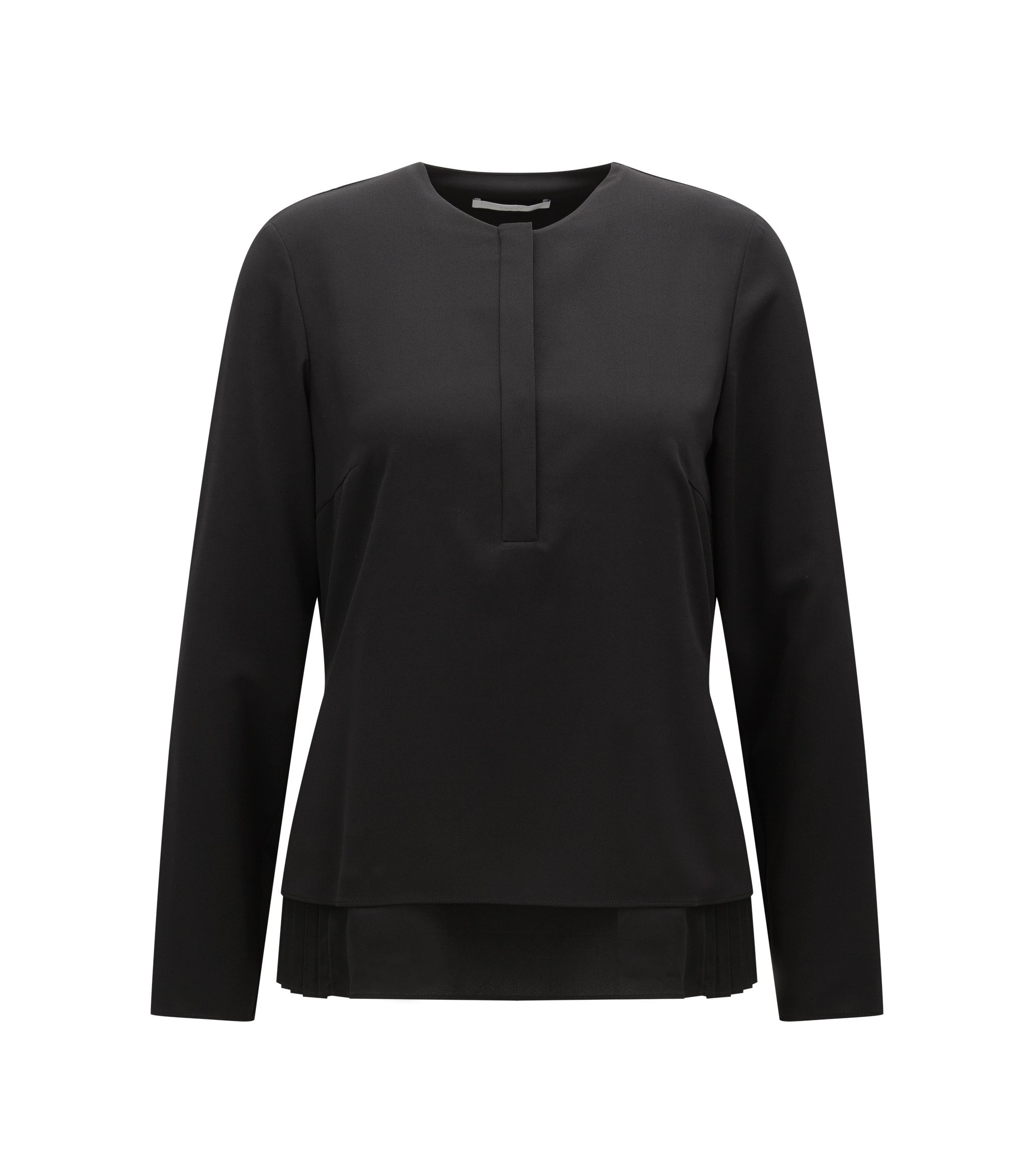 Relaxed-fit micro twill blouse with plissé underlayer, Black