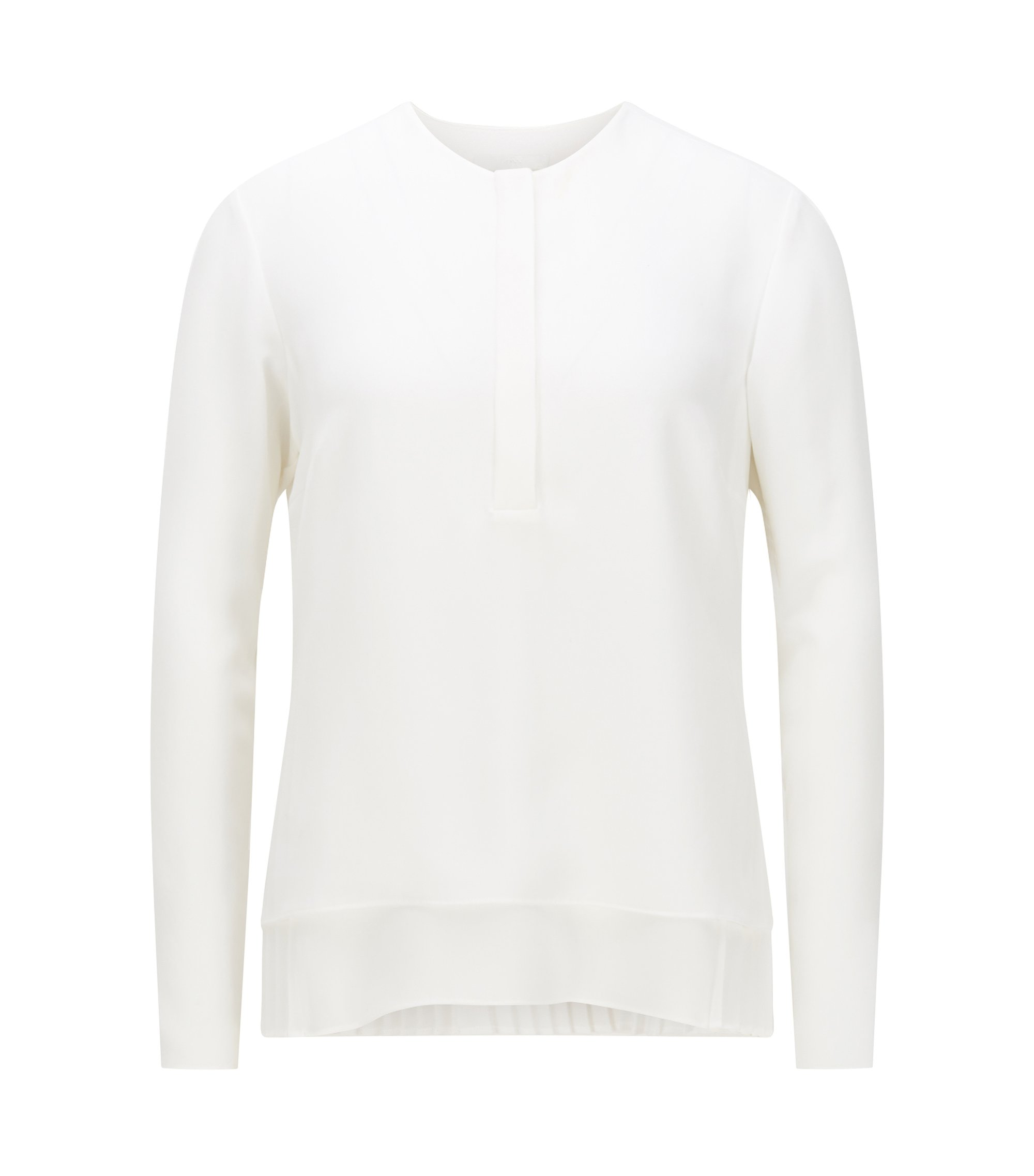 Relaxed-fit blouse in een microtwill met plissé onderlaag, Naturel