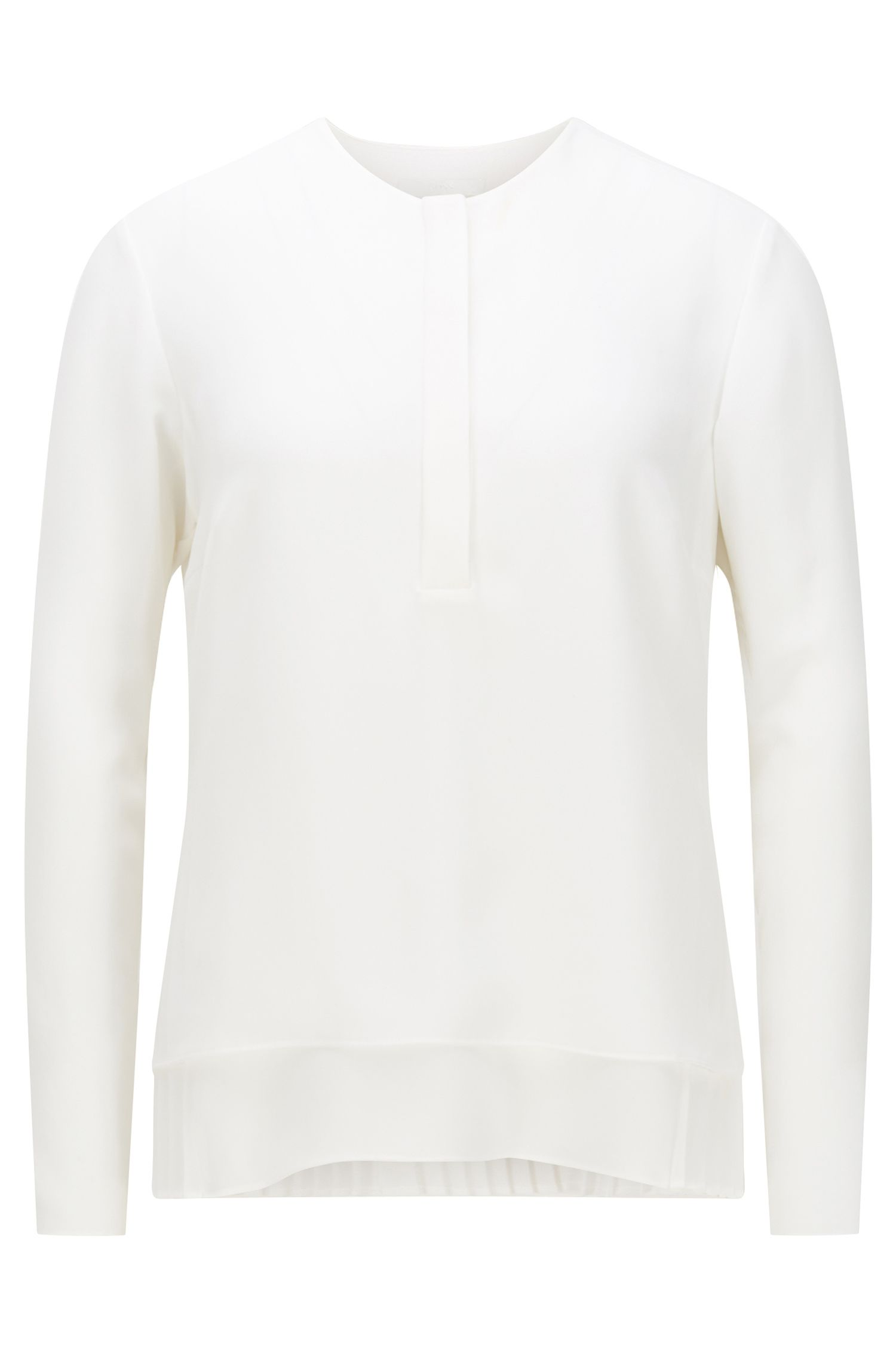 Relaxed-fit micro twill blouse with plissé underlayer