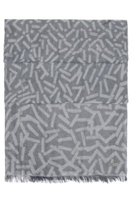 Patterned jacquard scarf in a cotton blend, Grey