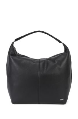 Slouch hobo bag in textured Italian leather, Black