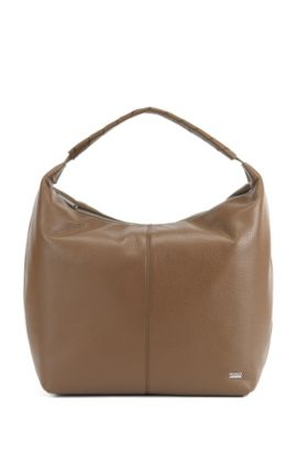 Softe Hobo-Bag aus strukturiertem italienischem Leder, Khaki