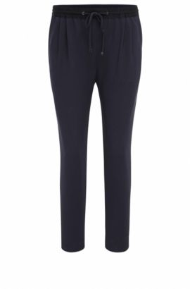 Relaxed-fit broek in stretchpiqué, Donkerblauw