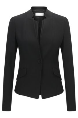 Blazer Regular Fit en laine vierge stretch, Noir