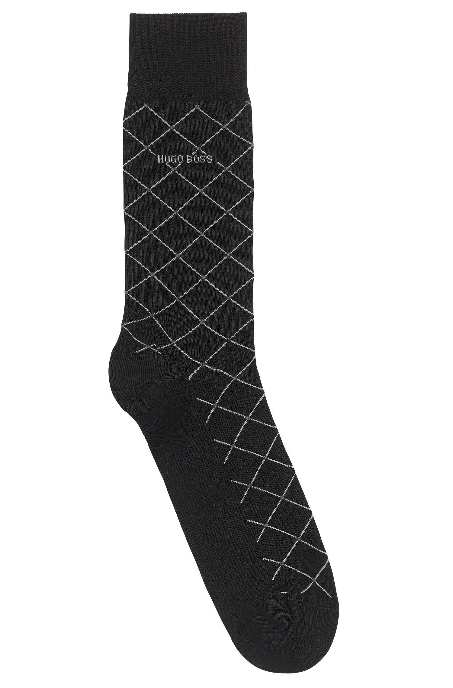 Sokken van een gemerceriseerde katoenmix met diagonaal ruitdessin