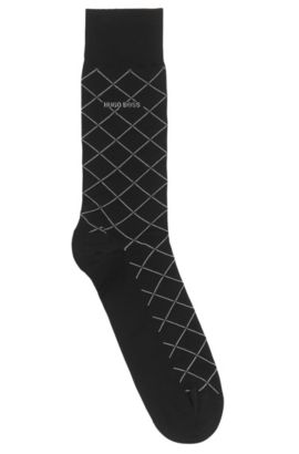 Mercerised cotton-blend socks with diagonal check pattern, Black