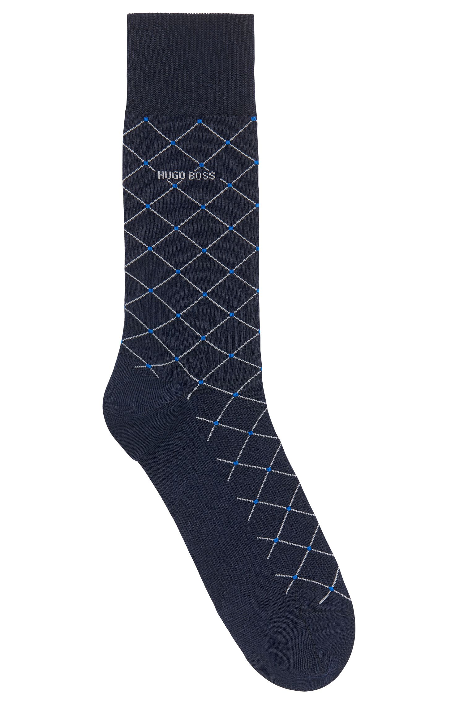 Mercerised cotton-blend socks with diagonal check pattern