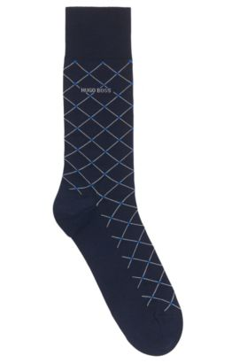 Mercerised cotton-blend socks with diagonal check pattern, Dark Blue