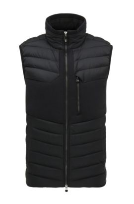 Regular-fit down gilet in water-repellent technical fabric, Black