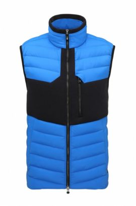 Regular-fit down gilet in water-repellent technical fabric, Blue