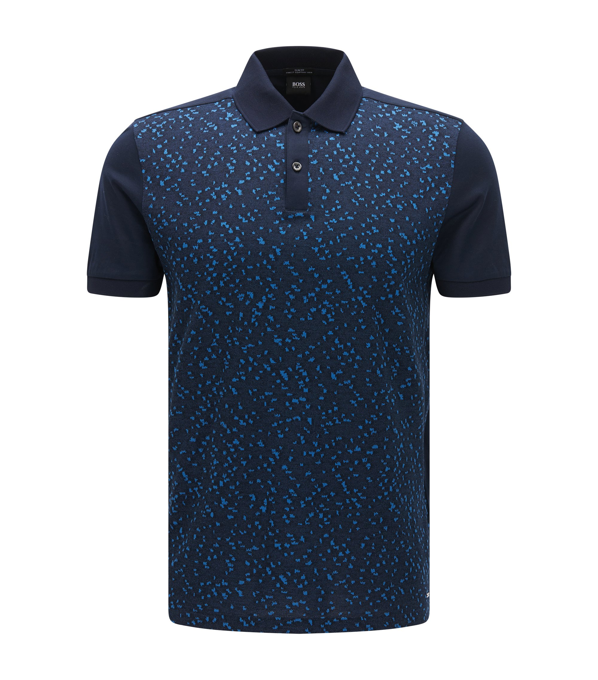 Slim-fit cotton polo shirt with jacquard front, Dark Blue
