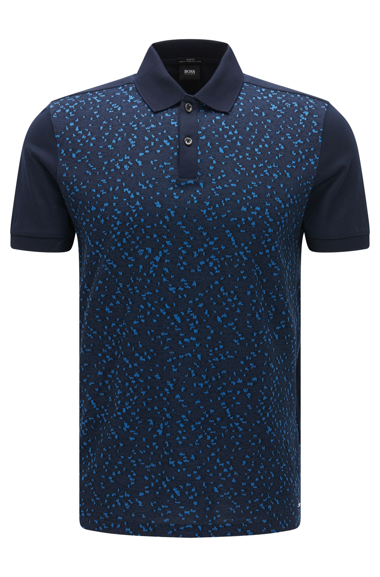 Slim-fit cotton polo shirt with jacquard front