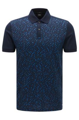 Polo Slim Fit en coton avec devant en jacquard, Bleu foncé