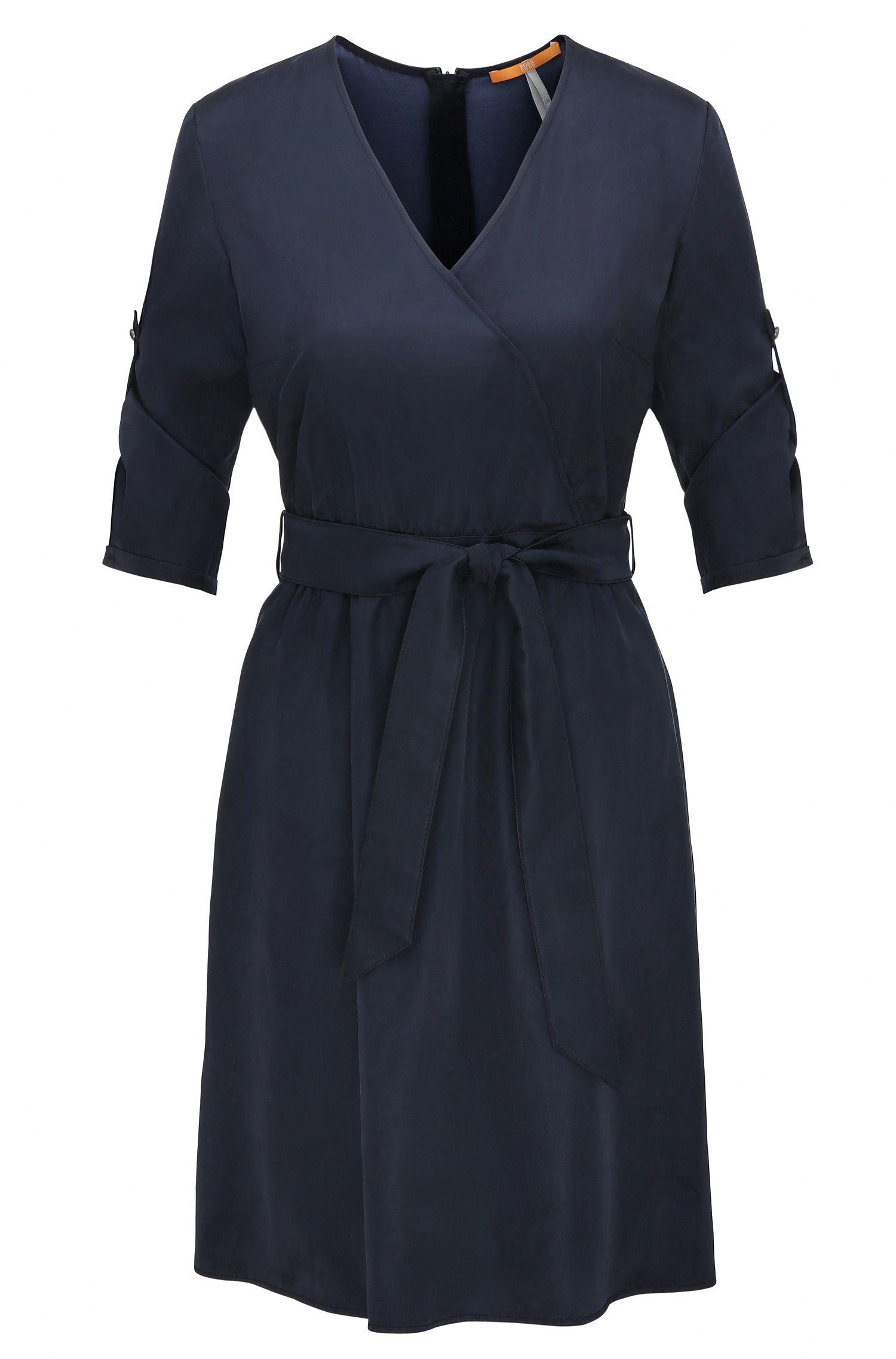 Robe chemise en satin de coton mélangé à ceinture amovible