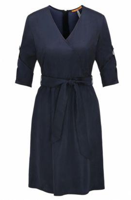 Robe chemise en satin de coton mélangé à ceinture amovible, Bleu foncé