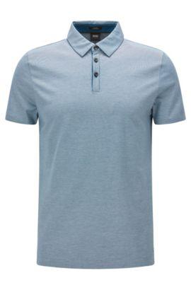 Polo slim fit in cotone con colletto in stile moderno, Turchese