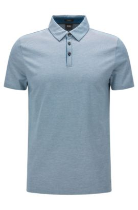 Slim-fit cotton polo shirt with modern collar, Turquoise