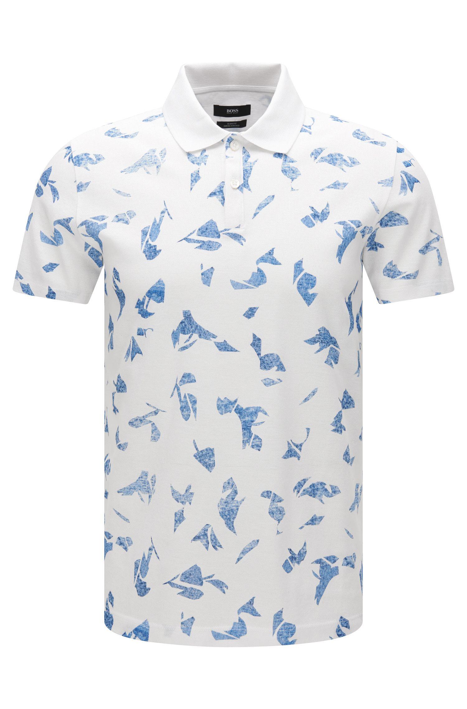Slim-Fit Poloshirt aus merzerisierter Baumwolle mit abstraktem Print