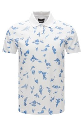 Slim-fit abstract print polo shirt in mercerised cotton, White