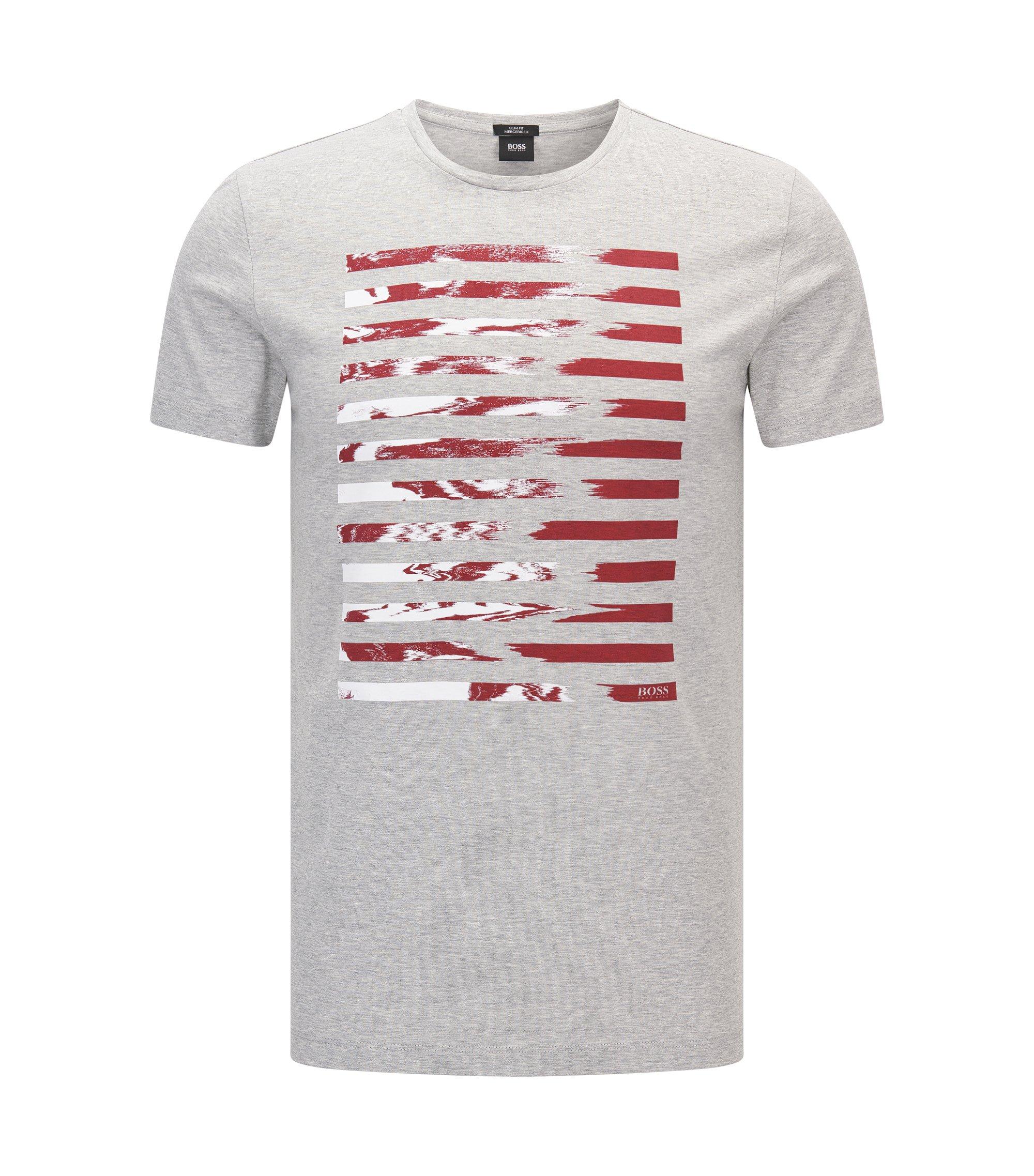 T-shirt Slim Fit en coton mercerisé à imprimé graphique, Gris chiné