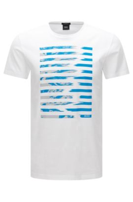 Slim-fit mercerised cotton T-shirt with graphic print, White