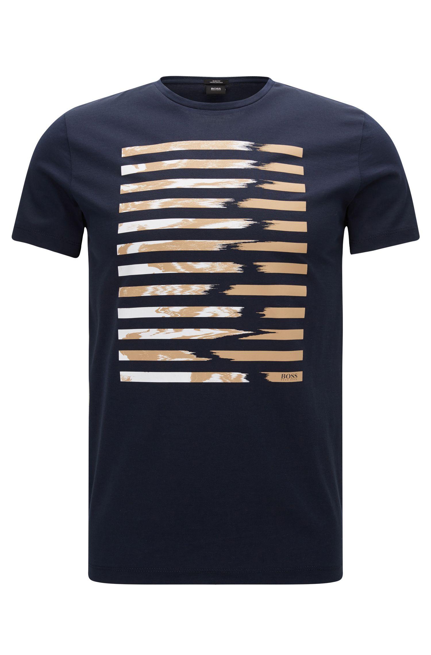 Camiseta slim fit en algodón mercerizado con estampado gráfico