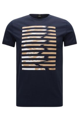 T-shirt slim fit con stampa grafica in cotone mercerizzato, Blu scuro
