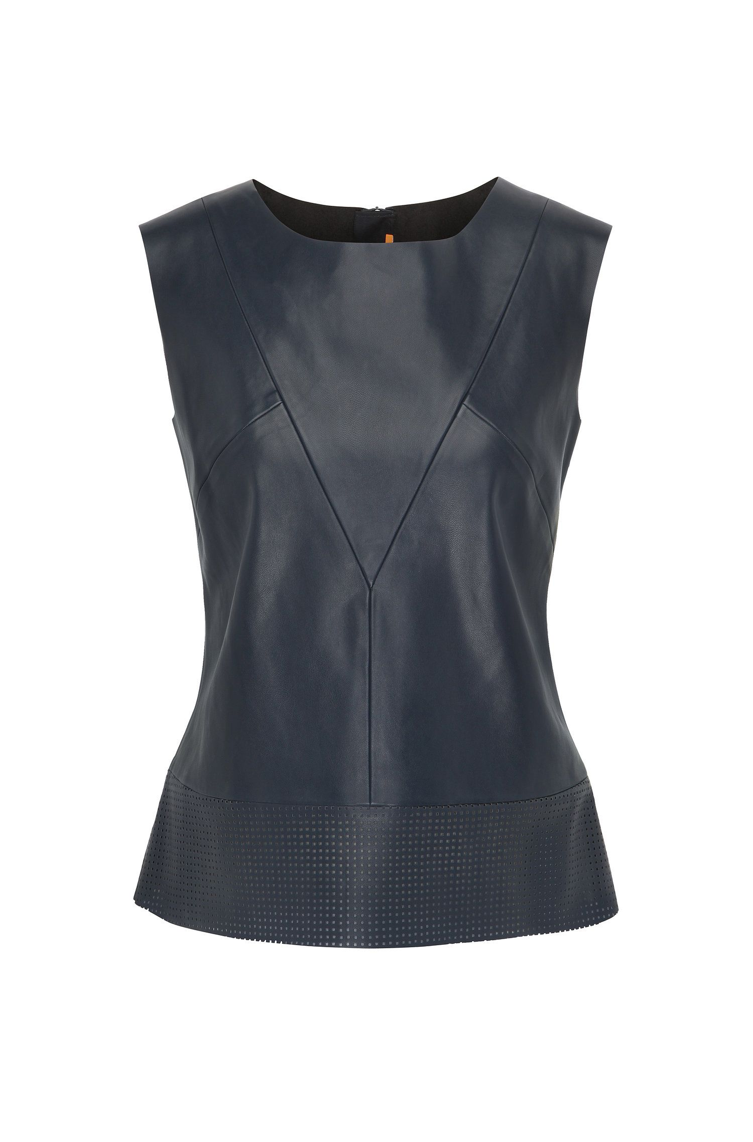 Faux leather sleeveless top with perforated hem