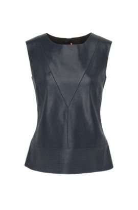 Faux leather sleeveless top with perforated hem, Dark Blue