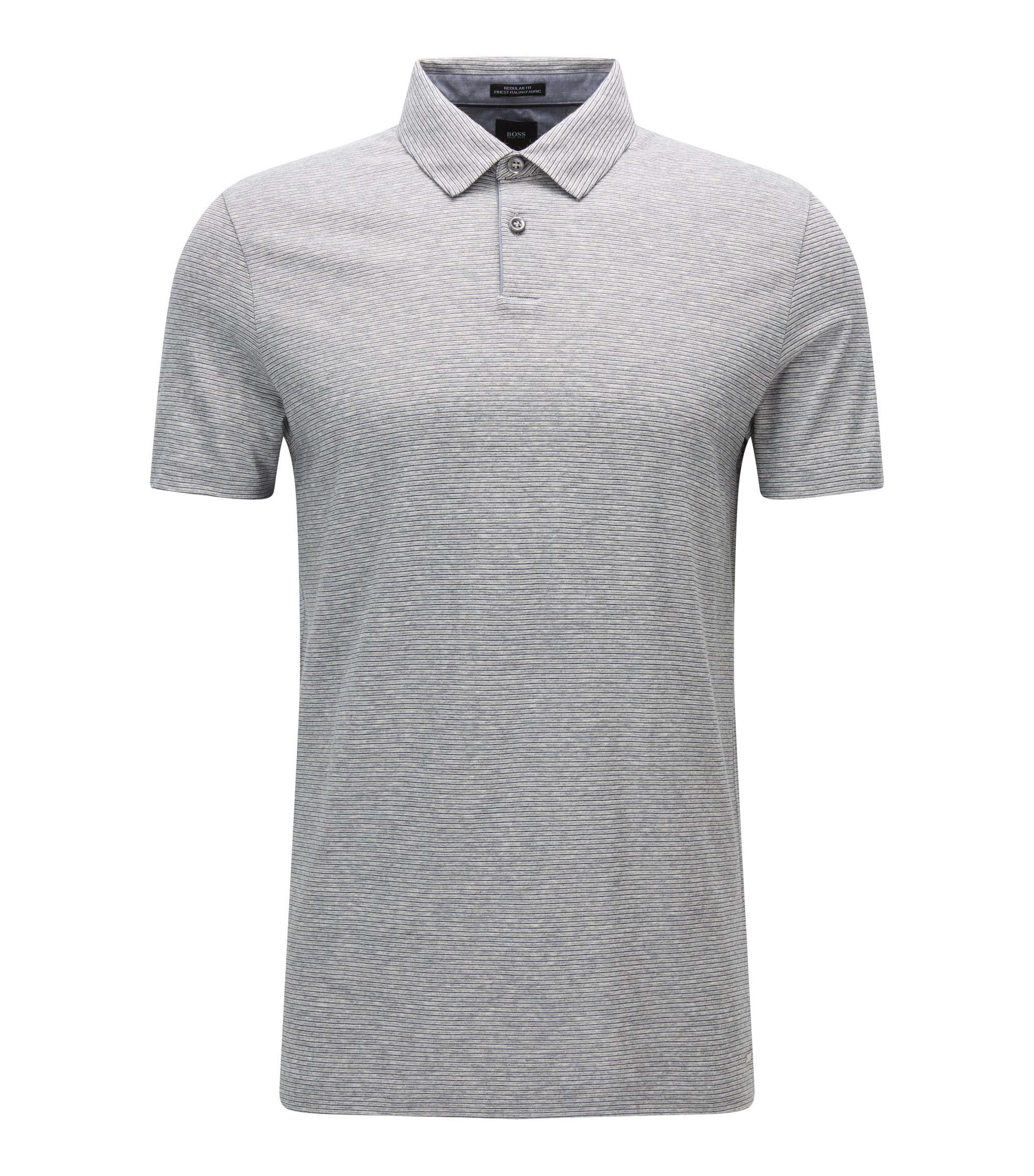 Regular-fit polo shirt in denim-look cotton, Light Grey