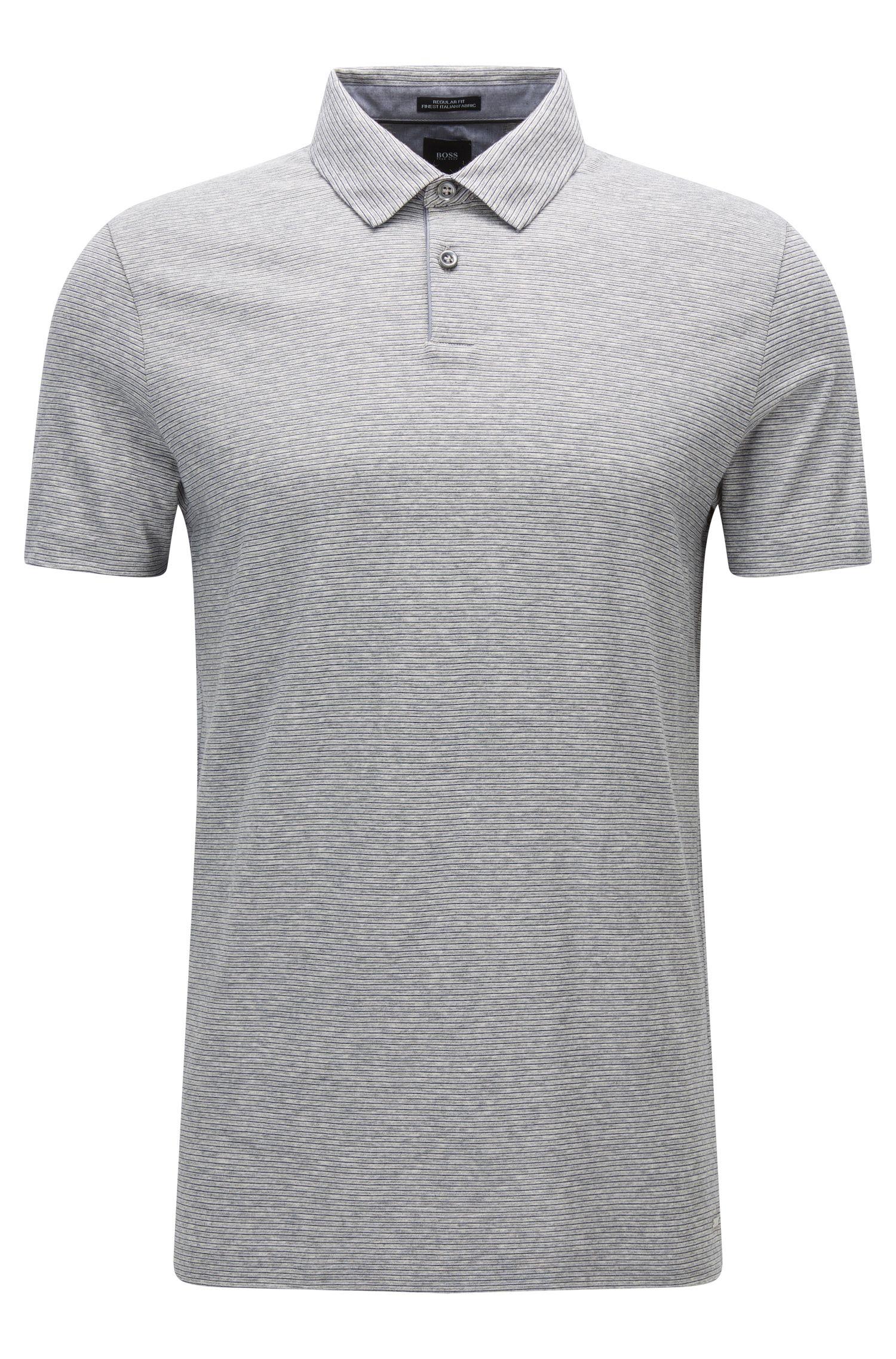 Regular-fit polo shirt in denim-look cotton