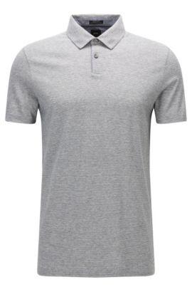 Regular-fit polo shirt in denim-look cotton, Open Grey