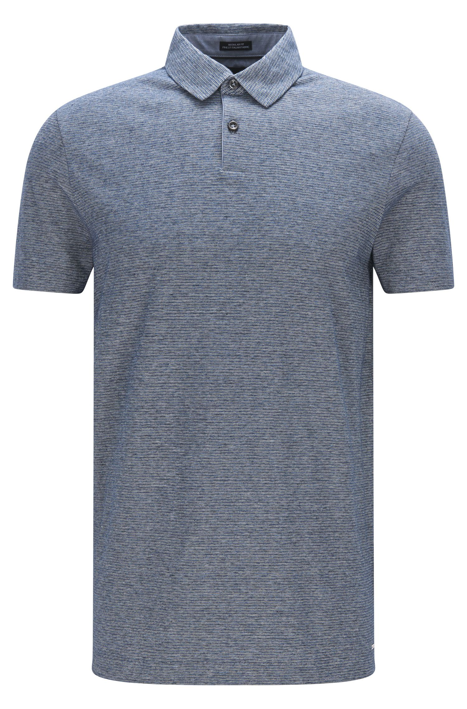 Regular-fit polo shirt in denim-look cotton