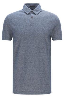 Regular-fit polo shirt in denim-look cotton, Dark Blue