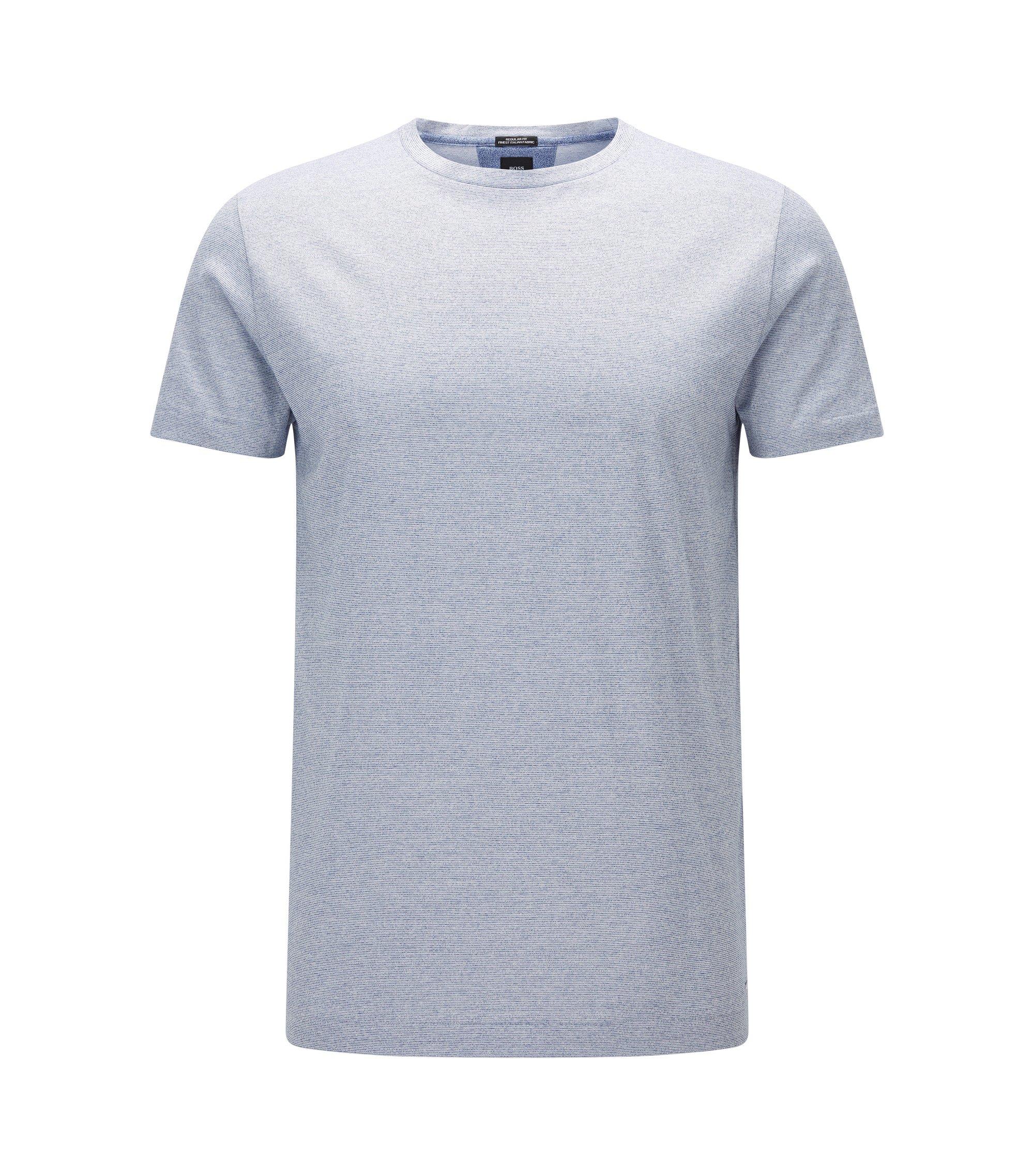 Regular-Fit T-Shirt aus Fil-à-Fil-Baumwolle, Dunkelblau