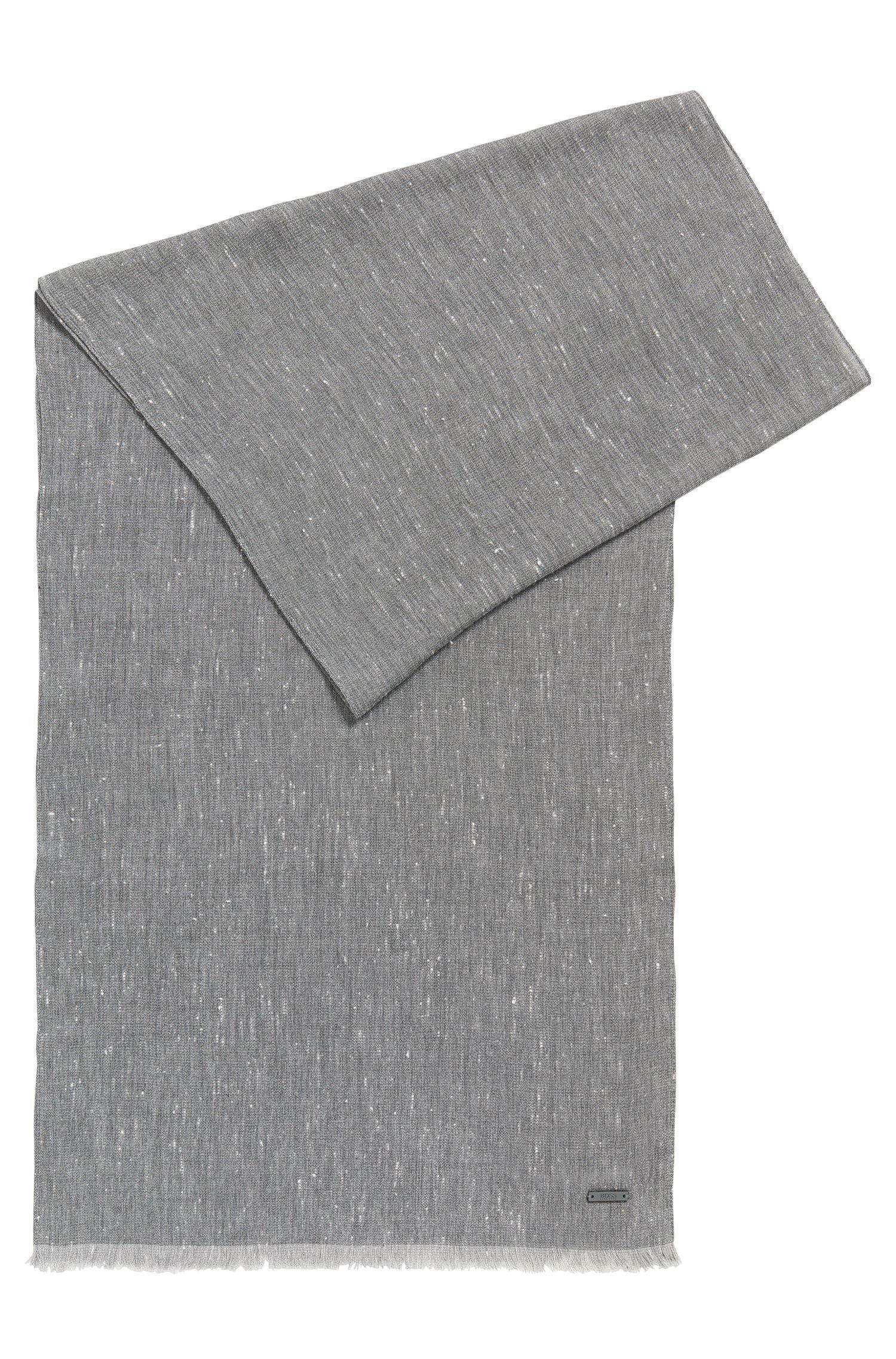 Sjaal van een geweven katoenmix met gemêleerd effect, Lichtgrijs