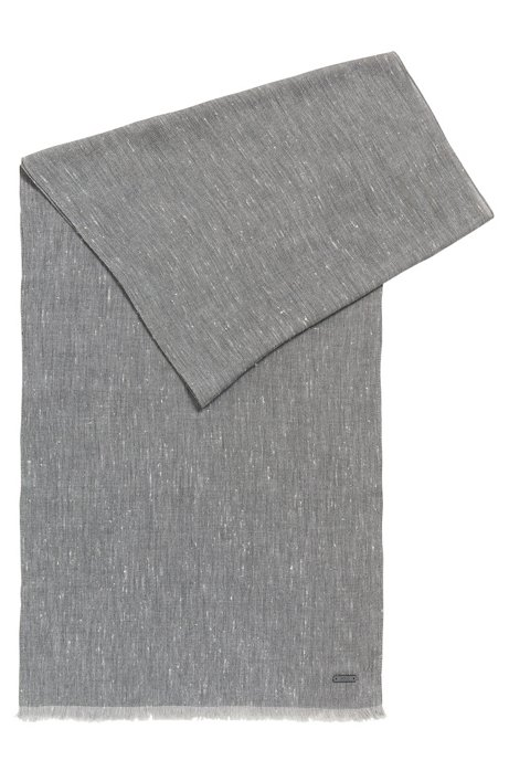 Woven cotton-blend scarf with marled effect, Light Grey